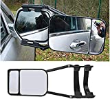 Car Towing Mirror - Clip On Towing Mirrors Extensions Adjustable Extendable Camper Mirrors 360 Degree Rotation Not Universal to All Models