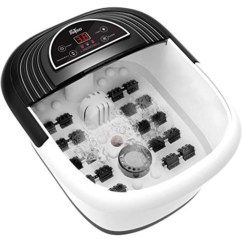 Dr Physio Electric Foot Spa Pedicure Massager Machine with Digital Screen, Bubble, 10 Massage Roller, Heat for Pain Relief-1025 (Black)