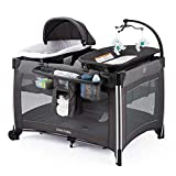 Deluxe Portable Baby Playard with Bassinet,Foldable Nursery Center with Changing Table,Large Capacity Storage Shelf (Grey)