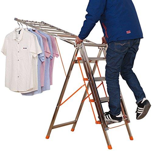 YAXIAO Escalera de Secado Plegable, Escalera for el hogar con Pedales de 4 Pasos, Bastidor de Secado de ala Multifuncional, Acero inoxidable-L190cm x Ancho 50 cm x 108 cm, Carga 150 kg Tendedero