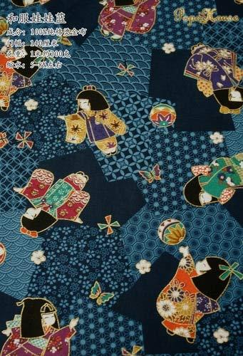 SHIM Paño de algodón Tela Impresa Flor de Bronce Fina del Bolso del Vestido del Cheongsam Patten un Kimono de Estilo japonés Mano de Bricolaje de 140x50cm Chica Azul 140x50cm