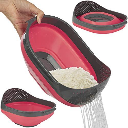ONVAYA® Faltschüssel mit Sieb   Blau   Orange   Rot   Faltbare Schüssel   Multifunktionssieb   Multifunktionsschüssel   zum Waschen von z.B. Obst, Salat oder Reis   spülmaschinengeeignet (Rot)