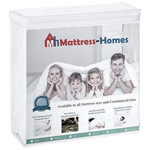 """Mattress Protector Zippered Encasement Style 34 X 75 RV Bunk Size 24"""" deep Pocket 100% Waterproof, Hypoallergenic, Breathable, Noiseless, Protect for Dust Mites, Allergy & Vinyl Free White Solid"""