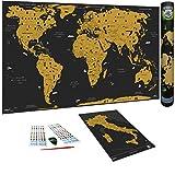 WIDETA Mapa del mundo para rascar en italiano, XXL (82 x 43 cm) / Papel estucado...