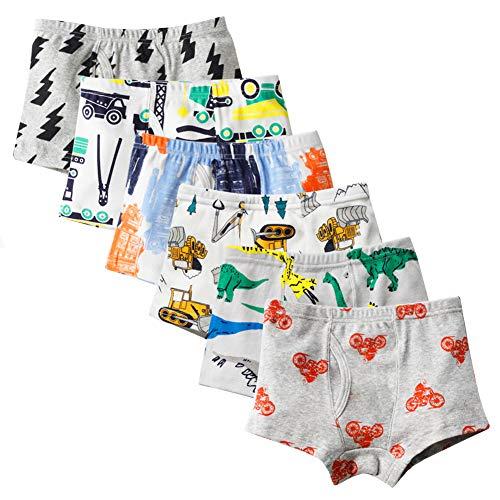 Closecret Kids Series Soft Cotton Toddler Underwear Dinosaur Truck Shark Baby Boys' Assorted Boxer Briefs(Pack of 6)(Style 7, 5-6 Years)