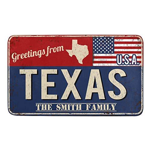 Qearl Indoor Personalized American Flag State Texas Doormat Outdoor Entrance, Anti-Slip Bath Floor Kitchen Area Door Rugs Mat 30 X 18 Inches Entryway Doormat Decor