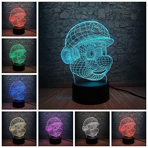 tzxdbh 3D nachtlampje, 7 kleuren wijzigen, touchclassic cartoon game-figuur, super veranderen Twitch bureau decoratie illusie USB-lampen