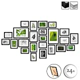 BOMOE Set de 24 Cadres Photos Multi-Vues Nature – Pêle-Mêle pour décoration Murale pour Chambre Salon Bureau Maison - Noir - 10 x 10,5 x 15 cm / 8 x 13 x 18 cm / 4 x 15 x 20 cm / 2 x 20 x 30 cm