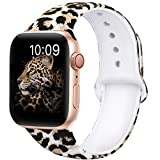 OriBear Compatible with Apple Watch Band 40mm 38mm Elegant Floral Bands for Women Soft Silicone Solid Pattern Printed Replacement Strap Band for Iwatch Series 4/3/2/1 M/L Sexy Leopard