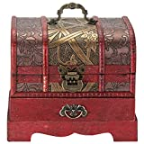 Primo Supply Traditional Wooden Jewelry Box - Oriental Style Wooden Box for Jewelry & Accessories - Small Vintage Treasure Chest w/ Drawer - Rustic Decor Containers for Organizing - Antique Stash Box