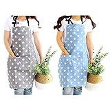 JZK 2 x Sterne Latzschürze Kochschürze Küchenschürze mit 2 Taschen Grillschürze Backschürze für Damen für Küche Garten BBQ