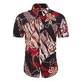 Camisa Negocios Hombre Ajustada Estampado Animales/Rayas Hombre Playa Camisa Verano Tapeta con Botones Hombre Camisa Casual Cómoda Moda Manga Corta Hombre Camisa Hawaiana E-5 4XL