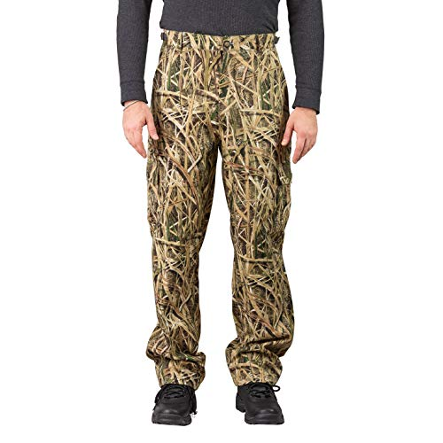 TrailCrest Men's Camo Hunting Cargo Pants | 6 Pockets | Mossy Oak Break-Up Country (Shadow Grass Blades, Medium)