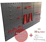 Kreher Große Werkzeug Lochwand 40 Teile. Maße ca. 120 x 58 cm, einbrennlackiert in Grau. Mit XXL...