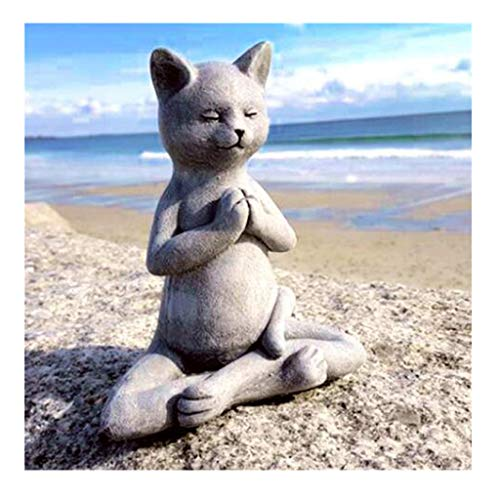 Tbaok Gray Meditation Prayer Cat, Devout Praying Buddha Dog, Natural Yoga Sculpture Whimsical Bunny, Meditation Room Yoga Figurine Statue, Vivid Garden Yard Decorations, Gifts for Friend Families (A)