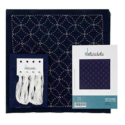 Sashiko | Kit de bordado Japonés | Tela de 68cm x 34cm pre-estampada (30cm x 30cm) | Hilo natural | Aguja larga | Instrucciones de bordado | Diseño Siete Tesoros | de Delicatela (Azul Índigo)