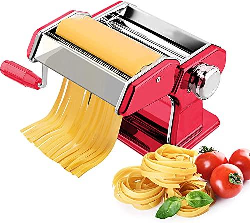Sailnovo Máquina Pasta Fresca Manual Roja Máquina de Cortador de Pasta de Acero Inoxidable Para Tagliolini 2 mm Fettucine 6.6 mm, 9 Grosores Diferentes De 0.5 mm a 3 mm, Ancho de Pasta 150 mm