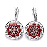 Hippie Boho India Mandala aretes coloridos geométricos flor gota pendientes para mujer chapado en plata cristal...