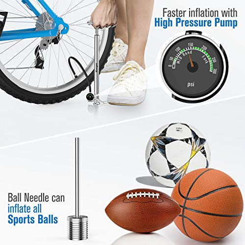 tomight Mini Bike Pump, High Pressure 210 PSI/14.5 Bar Floor Pump with Pressure Gauge and Flexible Hose, Accurate Fast Inflation, Including Gas Needle to Inflate Sports Balls, Swimming Rings -Silver