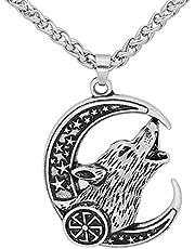 Collar De Amuleto De Hombre De Moda con Colgante De Luna De Cabeza De Lobo Vikingo Nórdico