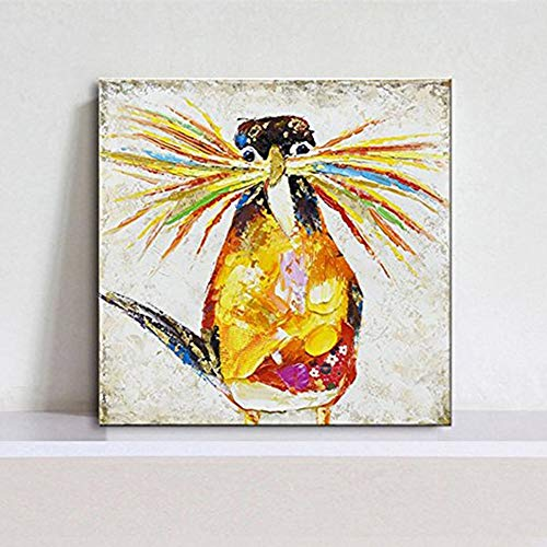 SUMIANYH Handgeschilderde olieverfschilderijen, Schilderij Op Doek Abstract Dier Lange Baard Gele Vogel Thuis Art Deco Schilderij Voor Slaapkamer Woonkamer Kinderkamer Decoratie Schilderij Frameless 60 X 60Cm