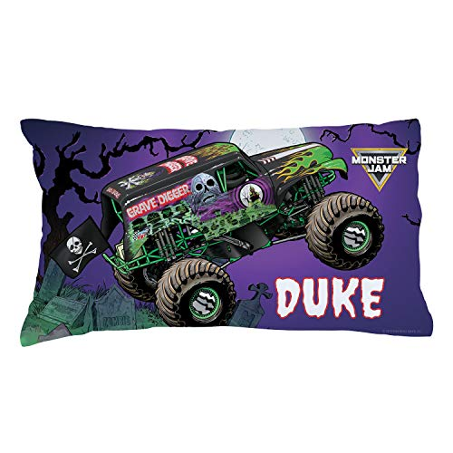 Personalized Monster Jam Pillowcase, Grave Digger in Action on Purple Cover, Official Licensed Product, 20x31, STD/Queen
