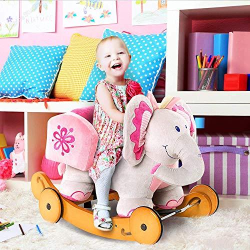 Labebe Baby Schaukelpferd Holz mit Räder, 2-in-1 Schaukelpferd Elefant&Schaukelpferd Rosa für Baby 1-3 Jahre Alt, Kleinkind Schaukel Baby/Schaukelpferd Pink/Spielzeug Schaukel/Schaukeltier Musik - 2