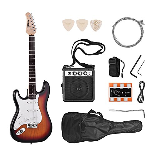 ammoon E-gitarre Elektrische Gitarren Set Massivholz Paulownia Körper Ahorn Hals 21 Bünde 6 String mit Lautsprecher Pitch Rohr Gitarre Tasche Strap Picks Linke Hand Sunburst