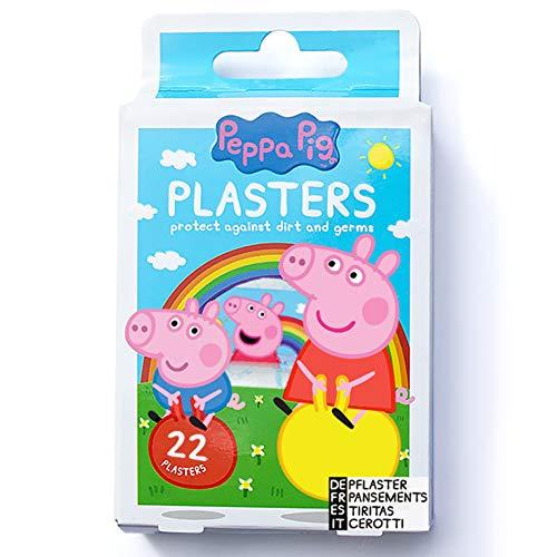 Peppa Pig Pflasters / Peppa Wutz Kinder Pflasterbox / x22 Streifen / 4 Größen / Latexfrei / Hypoallergen / Waschfest / Atmungsaktiv /