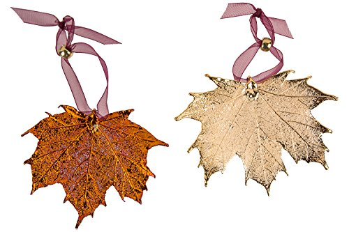 Curious Designs Leaf Ornaments, Maple Set - Copper and Gold Plated. Sugar and/or Full Moon