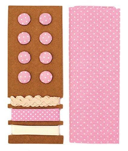 Lili rose ensemble textile rose à pois 48x48cm Bandes 3x1m 8 Boutons