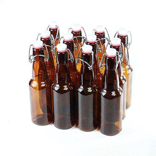Botellas con tapón mecánico -12 botellas con tapón mecánico para cerveza de cristal marrón , vidrio, 330ml