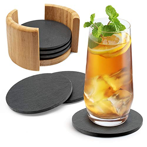 Sidorenko Untersetzer rund für Gläser aus Schiefer - 6er Set Ink. Box - Design Glasuntersetzer in dunkelgrau für Getränke, Tassen, Glas