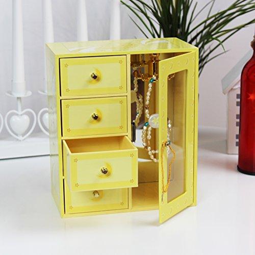 NOA POA JEWELRY COLLECTION Schmuckschrank Holz mit Schubladen Spiegel Schmuckkästchen (Yellow)