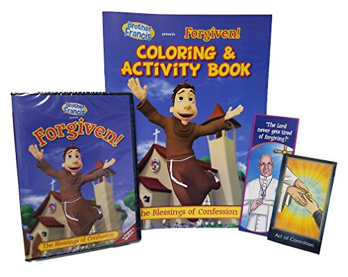 Brother Francis Forgiven DVD with Coloring & Acticity Book, Free Pope Francis Bookmark & Act of Contrition Prayer Card, The Parables of Jesus, ... to Make a Good Confession, Children's Songs