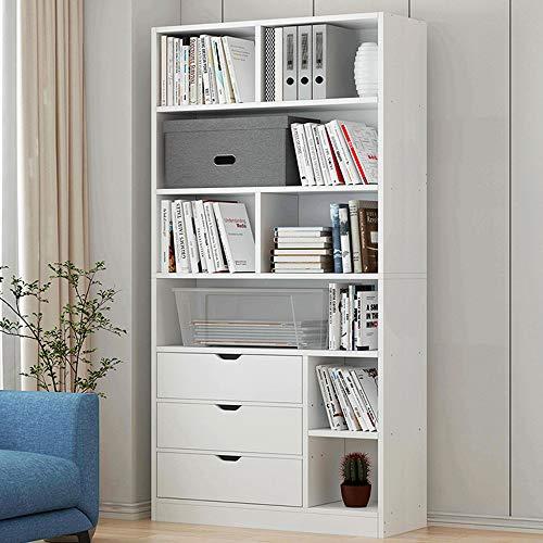 KaminHome - Scaffale libreria Valentine Mobile Organizzatore Supporto di Libri Ufficio Salotto Camera Armadio di Casa (180 cm x 75 cm x 20 cm) (Bianco)