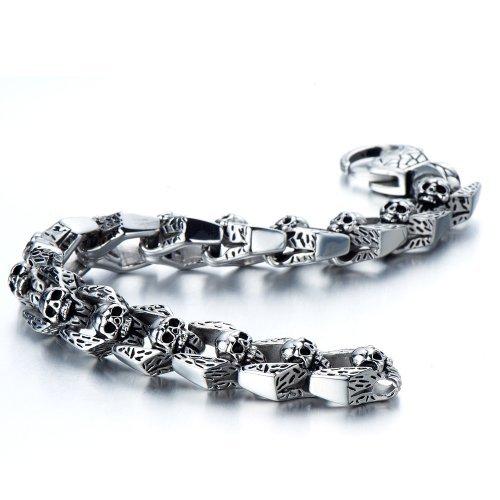 COOLSTEELANDBEYOND Biker Armband Gotik Schädel-Armband für Herren Edelstahl-Armband 21.7cm