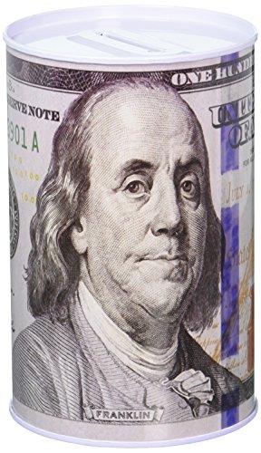 Chadamyi 100 Dollar Bill Tin Money Bank Note Metal Money Box 100$ Bill Dollar Moneybox, 5 7/8' Tall X 4' Metal Money Coin Bank, $100, Benjamin Franklin Coin Bank