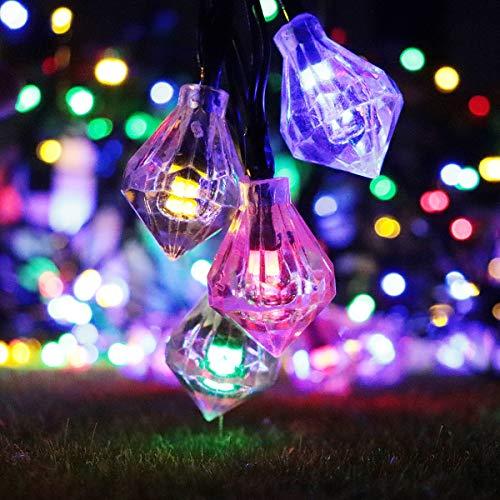 Lichtketting, kleurrijk, werkt op batterijen, solar-lichtketting met 20 diamanten, warmwit