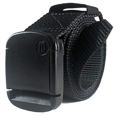 1.25 Inch Nylon Web Belt with Adjustable Buckle, Unisex (X-Small, Black)