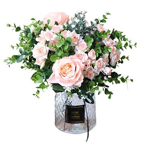 Vaas met kunstmatige Flower Set 1 Stuk Fake Rose Eucalyptus blad bloemen Bloemstuk Glass