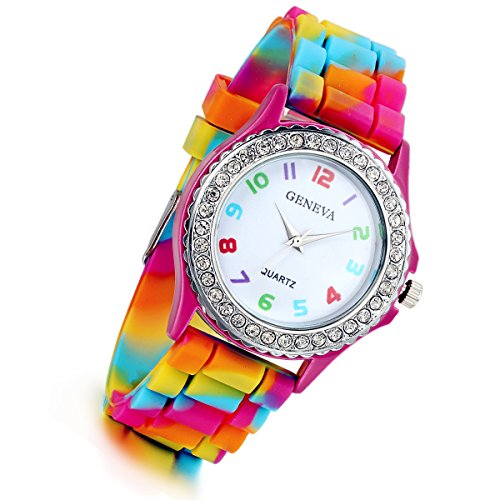 Lancardo Rhinestone Rainbow Color Silicon Jelly Fun Play Watches for Women - Rose Red