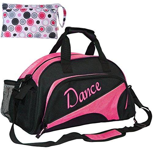 Kilofly, borsone da ragazza, per danza, sport, palestra, viaggio, con pratica pochette inclusa, Red (Rosso) - AWP372RED