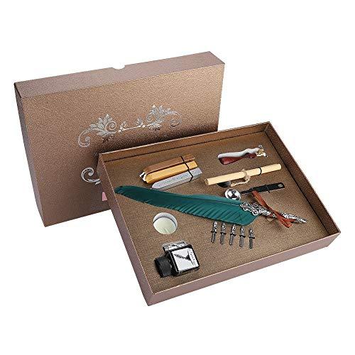 Retro Quill Pen Set, Antique Feather Dip Pen Set Retro Quill Alloy Pluma Escritura con Pluma Plumas Botella de Tinta Papel de Carta Caja de Regalo (Tinta Verde)