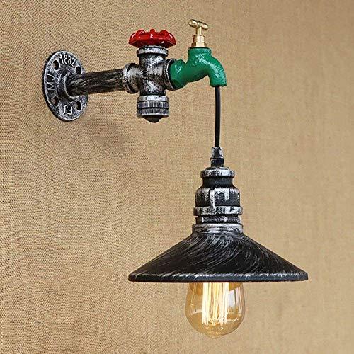 Lámpara pared tubería agua retro Steampunk Edison E27 en pincel plata envejecida, acabado en óxido negro, luz interior para restaurante, bar, cafetería, cocina, lámpara pared hierro forjado, aplique
