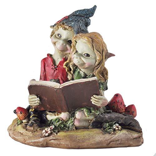 Sculpture de jardin magique et mystérieuse - Lutins Pixie - De qualité supérieure - Avec couple de lutins sur balançoire à suspendre - Figurines féeriques de lutins décoratives - Hauteur de 10 cm