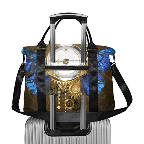 Reloj con Flores y Mariposas Bolsa de Viaje Grande de Viaje Bolsa...
