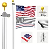 KBLOONG 25 FT Flag Pole Kit,Extra Heavy Duty Aluminum Ground Flag Poles,Outdoor Inground Large FlagPole,Fit for House, Residential,Yard or Commercial,Silver