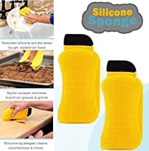 SBB Ultimate Silicone Sponge Improved Dish Washing Scrubber Fruit Vegetable Food Grade Anti-Bacterial Cleaning Kitchen Gadgets Brush Accessories (Yellow)