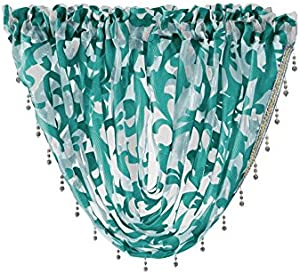 Ians Emporium 1 x CASSIA Scroll Pattern Crystal Sparkle Beaded Trim Kitchen Pelmet Net/Voile Valance Drape Swag Swags - TEAL - Curtains At Home`